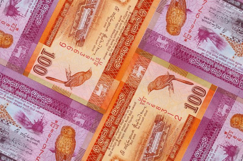 The symmetrical composition of Sri Lankan banknotes. Rupee, the national currency of Sri Lanka stock photo