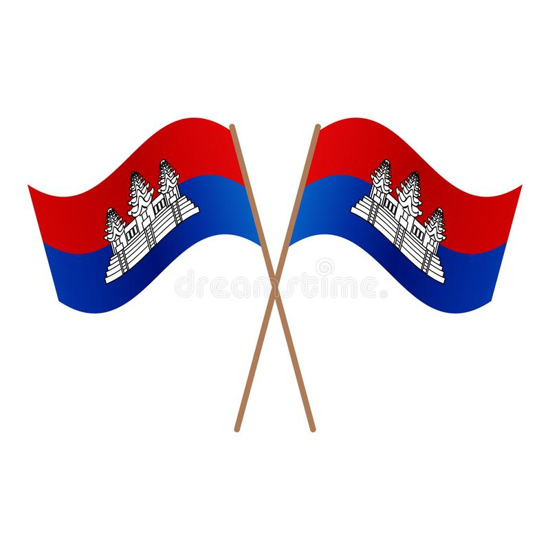 Symmetrical Crossed Cambodia flags stock illustration