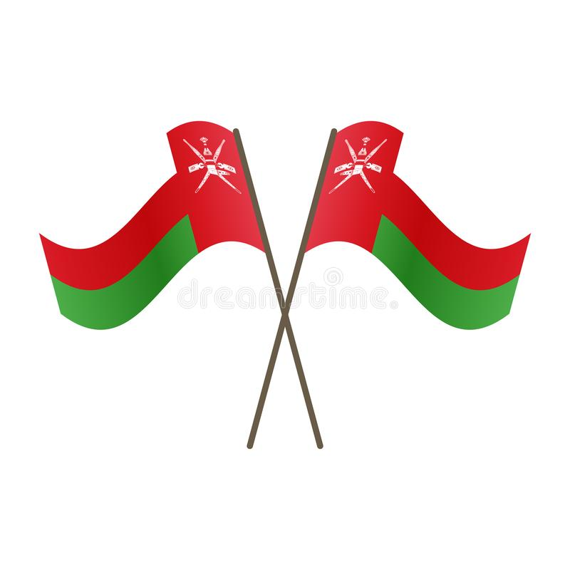 Symmetrical Crossed Oman flags royalty free illustration