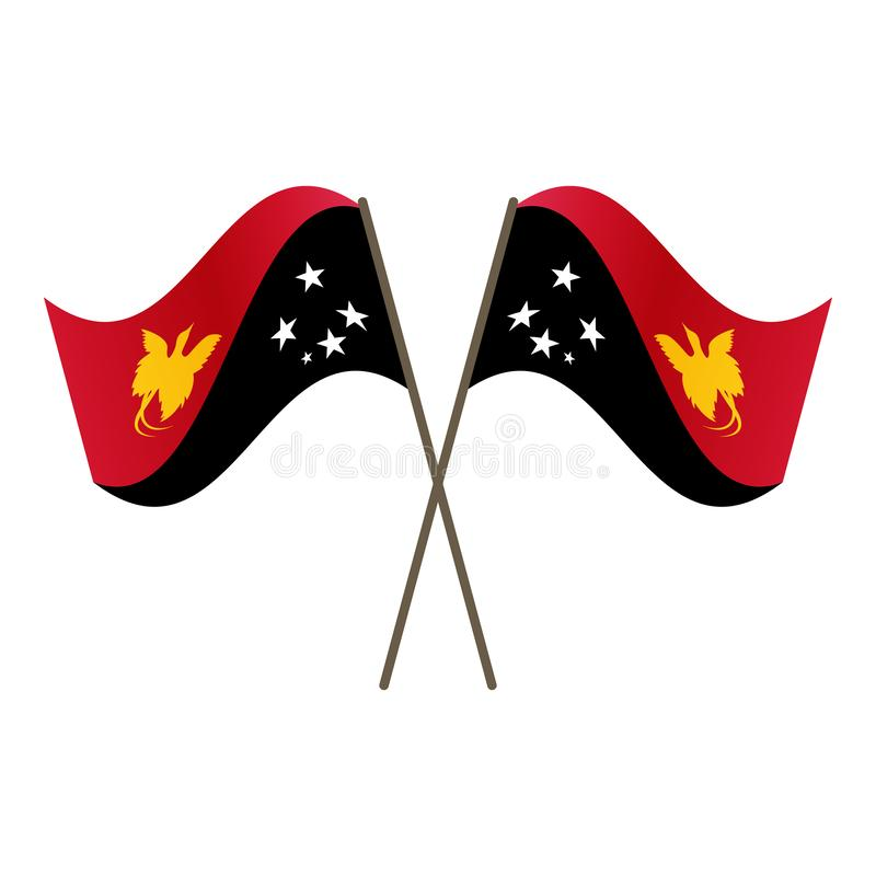 Symmetrical Crossed Papua New Guinea flags stock illustration