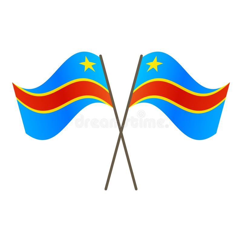 Symmetrical Crossed Republic of the Congo flags royalty free illustration