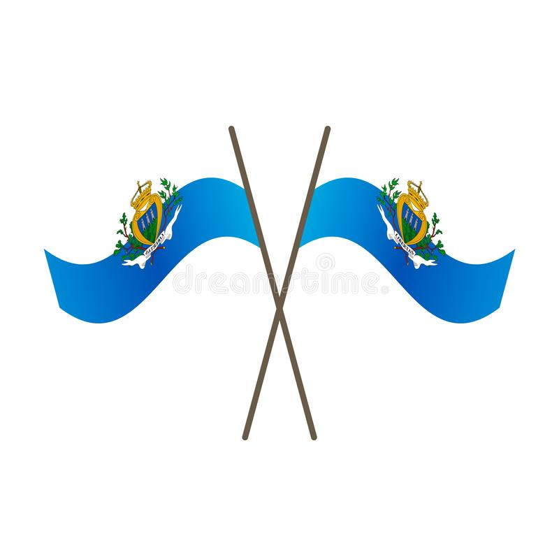 Symmetrical Crossed San Marino flags stock illustration