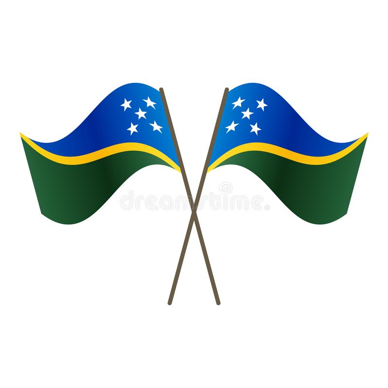 Symmetrical Crossed Solomon Islands flags stock illustration