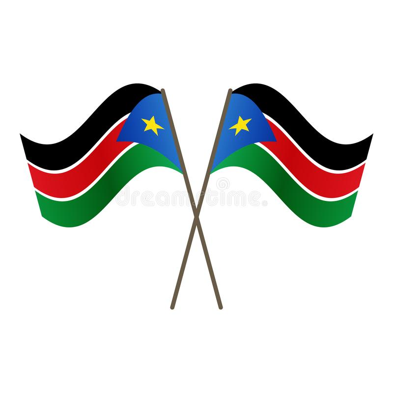 Symmetrical Crossed South Sudan flags royalty free illustration