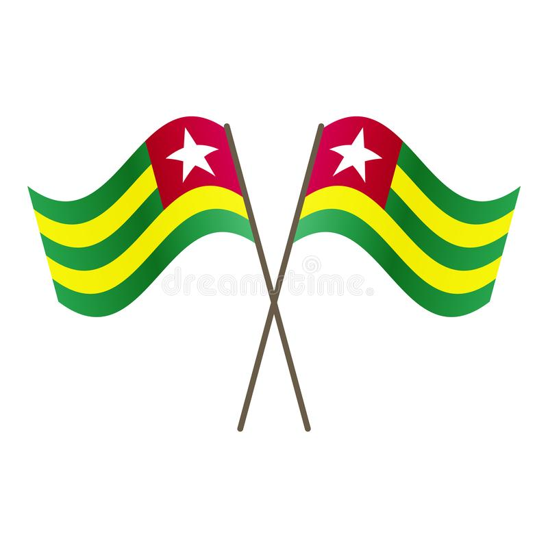 Symmetrical Crossed Togo flags stock illustration