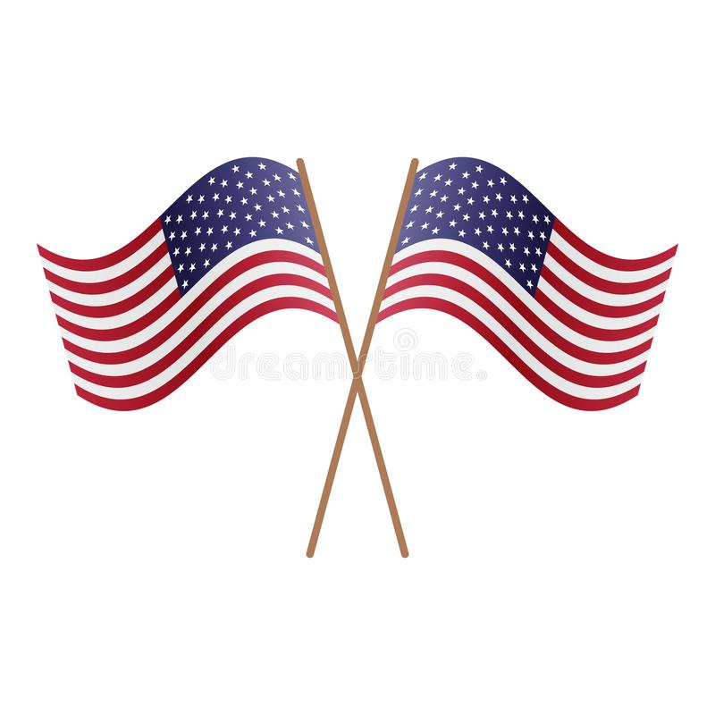 Symmetrical Crossed USA flags royalty free illustration