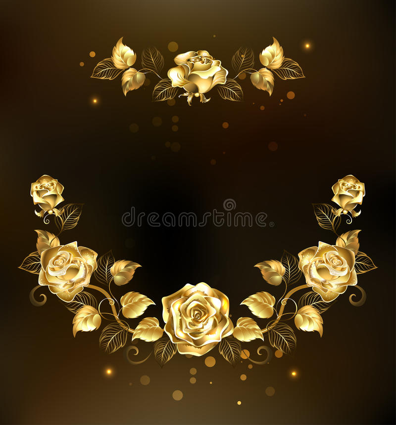 Symmetrical Garland Of Gold Roses Stock Vector Illustration of