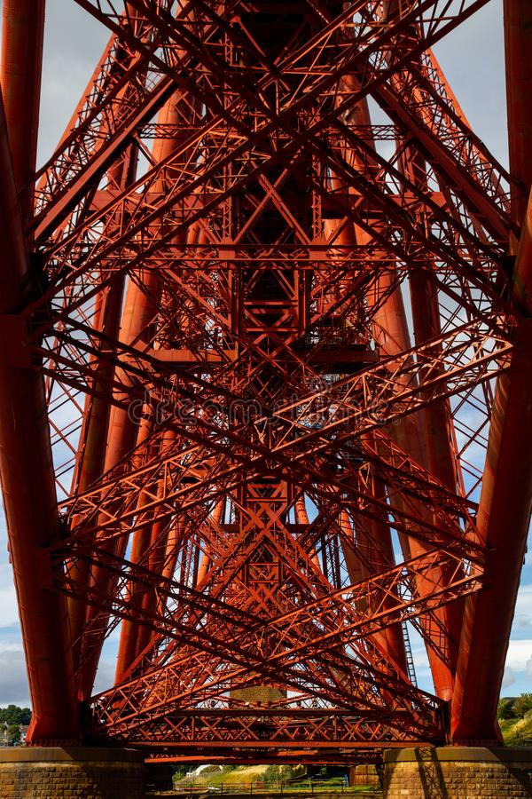 Forth Rail Bridge. Symmetrical image from underneath the Forth Rail Bridge royalty free stock images