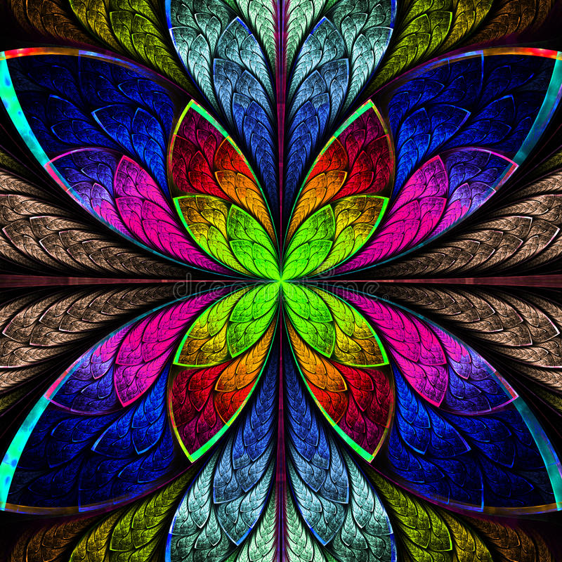Symmetrical multicolor fractal flower in stained glass style. Co. Mputer generated graphics stock illustration
