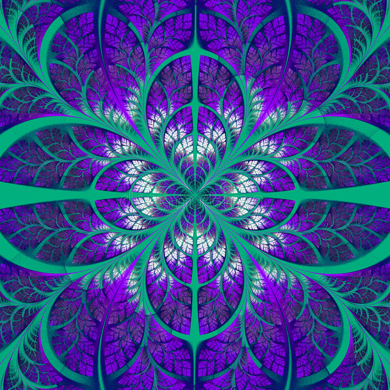 Symmetrical pattern of the leaves in purple and green. Collection - tree foliage. Computer generated graphics vector illustration