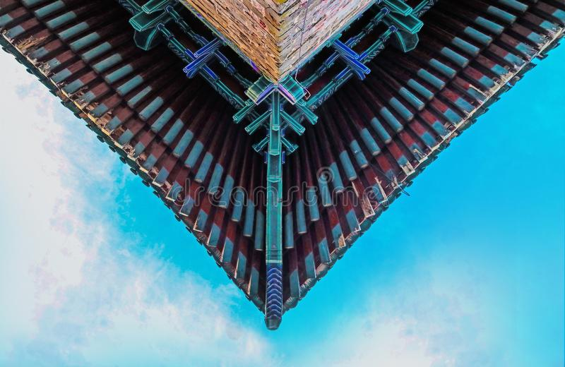 Symmetrical roof. With arch,China Ming Dynasty Architecturen royalty free stock photo