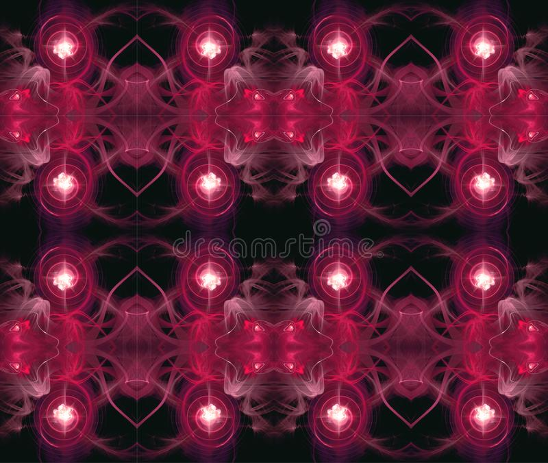 Symmetrical seamless pattern. Fractal abstraction. A glowing center around which spirals and waves. stock illustration