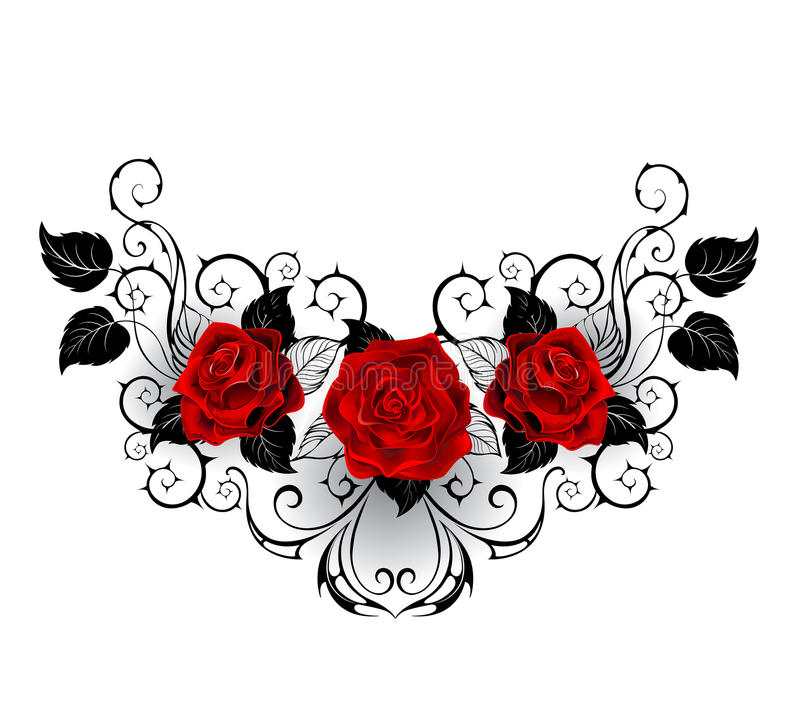 Symmetrical tattoo of red roses stock illustration