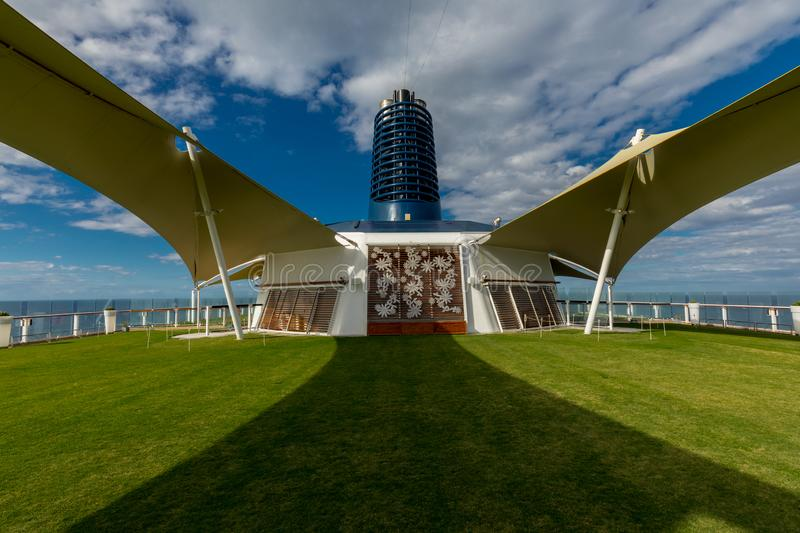 Symmetrical View of the Green Lawn Aboard Celebrity Eclipse Cruise royalty free stock photo