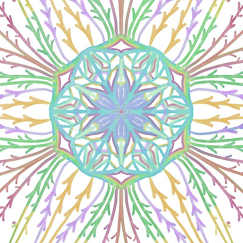 Symmetrical watercolor kaleidoscope pattern with vines and center flower seal vector illustration