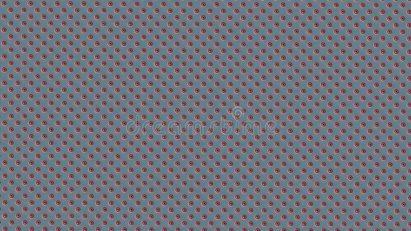 Symmetrically distributed red white striped dots or balls on light blue background stock illustration