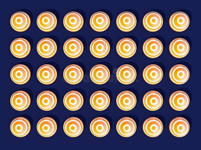 Symmetrically sidan - vid - sidan fördelade vita och gula kulöra sfärer på ljust - blå bakgrund vektor illustrationer