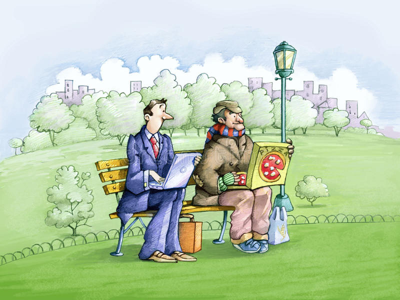 Symmetries. An employee and a homeless man sitting on a park bench, one computer on your lap, the other a box of pizza, are very similar stock illustration