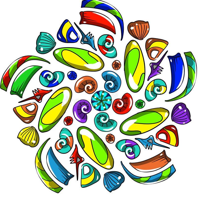 Symmetrisch patroon van kleurrijke parels stock illustratie