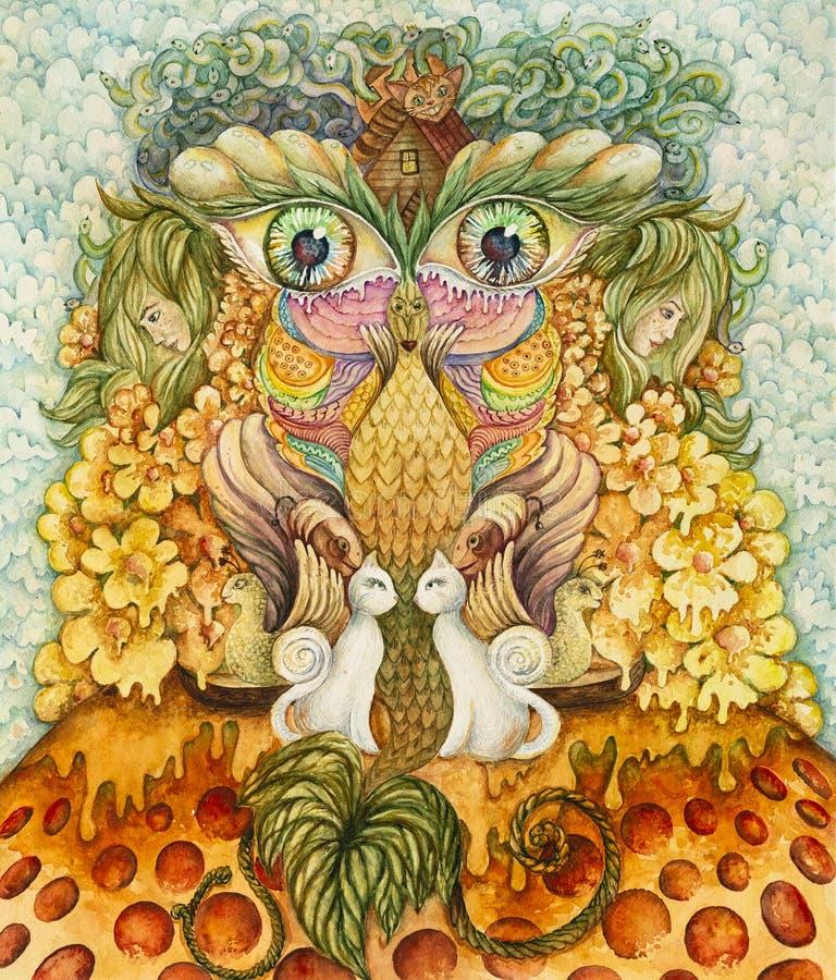 Symmetrische abstractiesamenstelling De tekening van de waterverf royalty-vrije stock foto