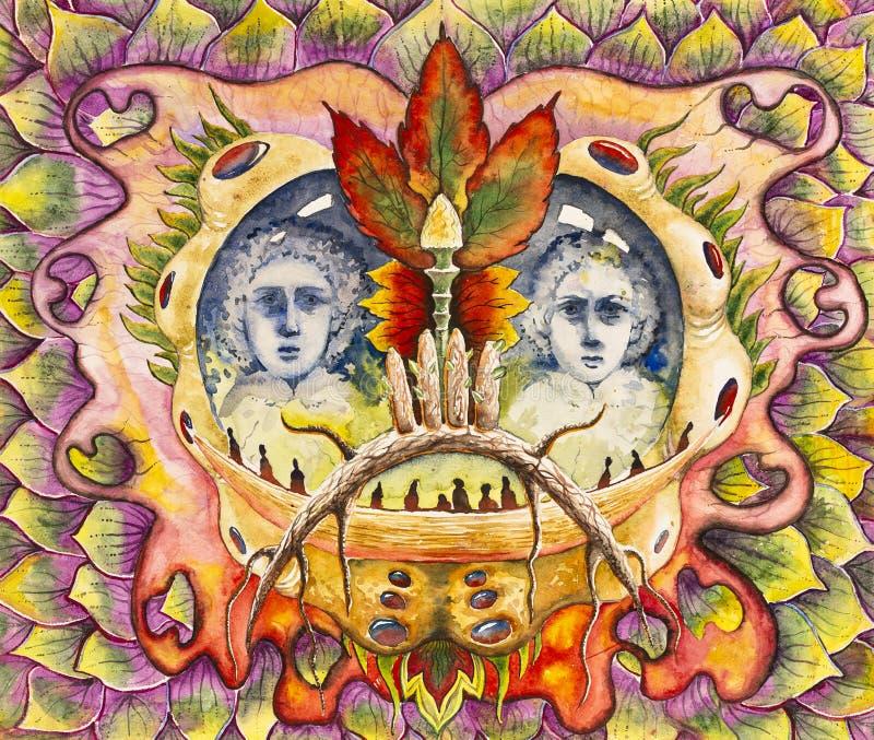 Symmetrische abstractiesamenstelling De tekening van de waterverf royalty-vrije stock afbeelding
