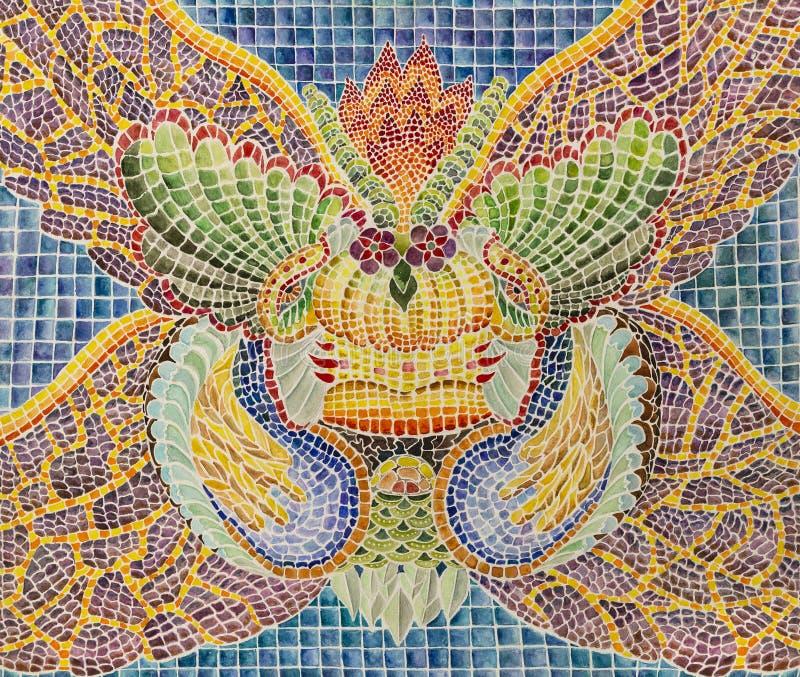 Symmetrische abstractiesamenstelling De tekening van de waterverf stock foto's