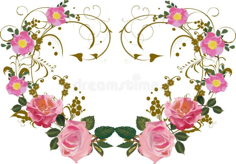 Symmetrische Dekoration der Rosarosen-Blume lizenzfreie abbildung