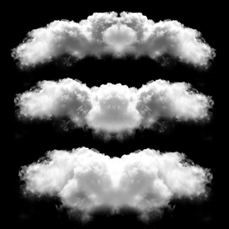 Symmetrische die wolkenvormen over zwarte achtergrond worden geïsoleerd illustr stock illustratie