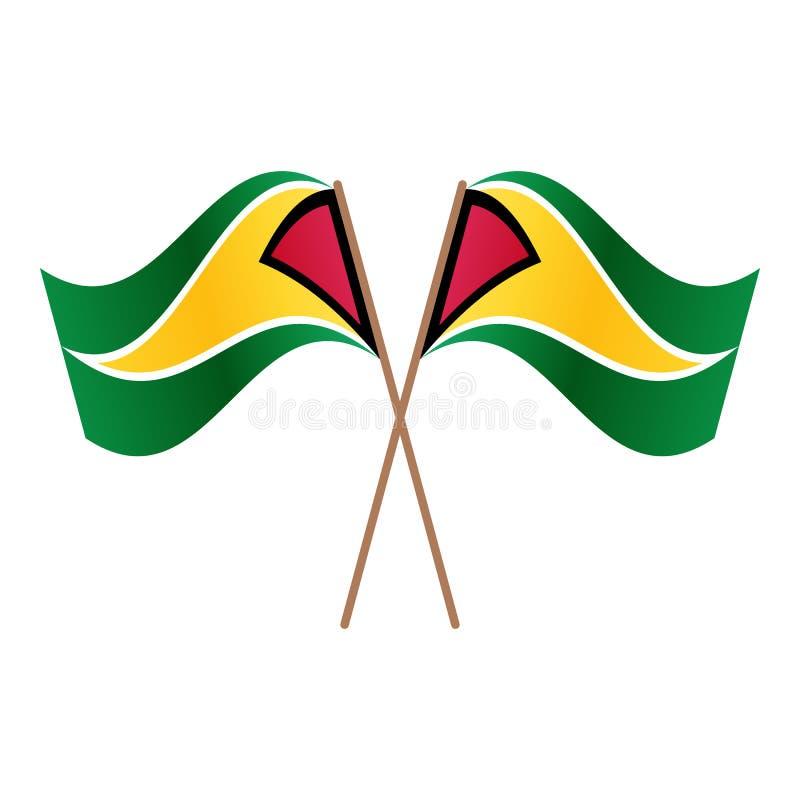 Symmetrische gekreuzte Guyana-Flaggen stock abbildung