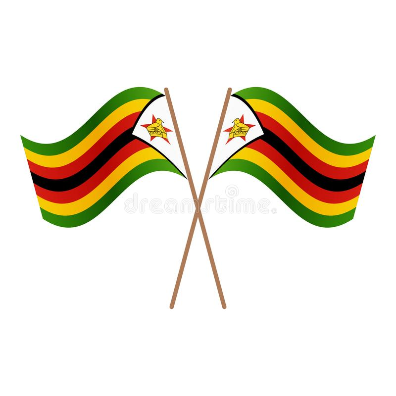 Symmetrische gekreuzte Simbabwe-Flaggen stock abbildung