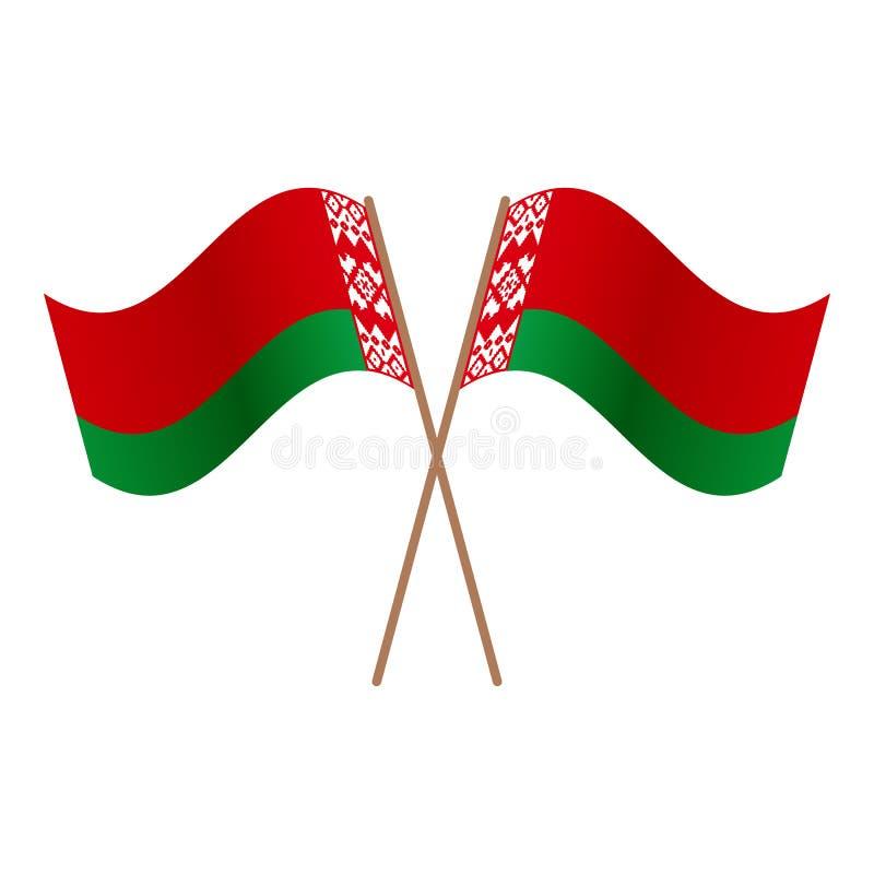 Symmetrische gekreuzte Weißrussland-Flaggen lizenzfreie abbildung