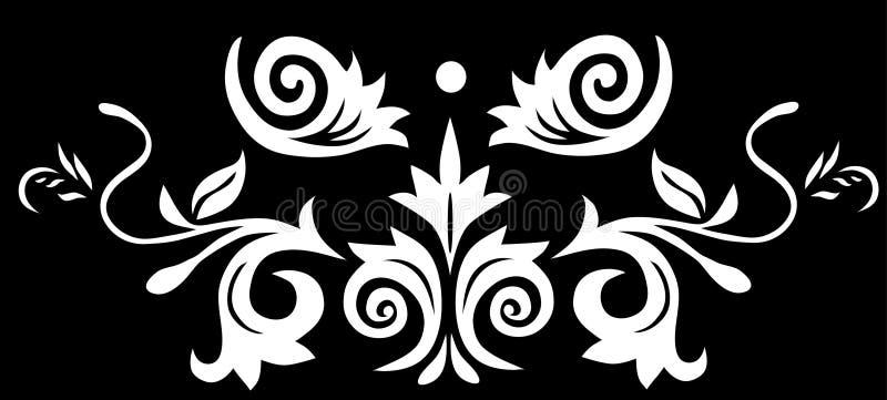 Symmetrische schwarze Blumendekoration stock abbildung