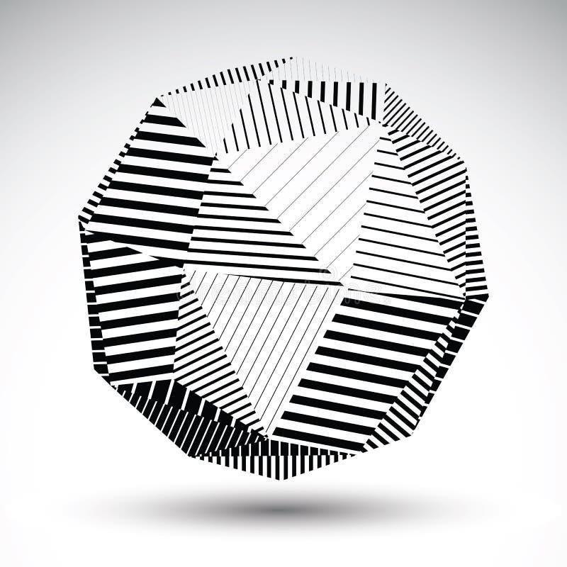 Symmetrische sferische 3D vectortechnologieillustratie, perspecti royalty-vrije illustratie