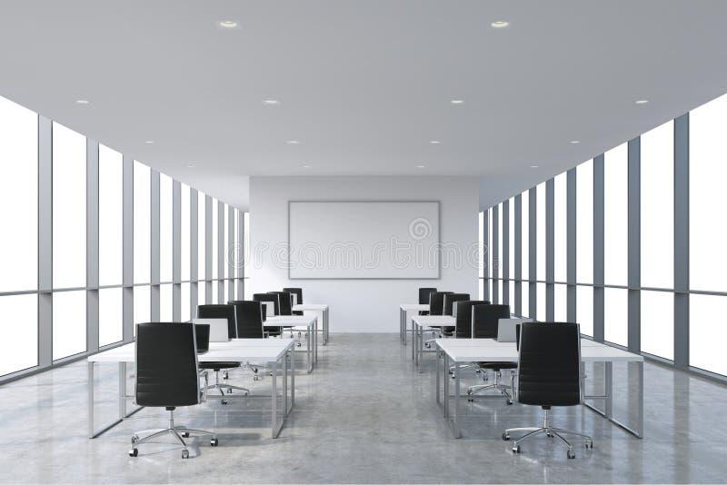 Symmetrische Unternehmensarbeitsplätze ausgerüstet durch moderne Laptops in einem modernen panoramischen Büro, weißer Kopienraum  stock abbildung