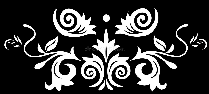 Symmetrische zwarte bloemendecoratie stock illustratie