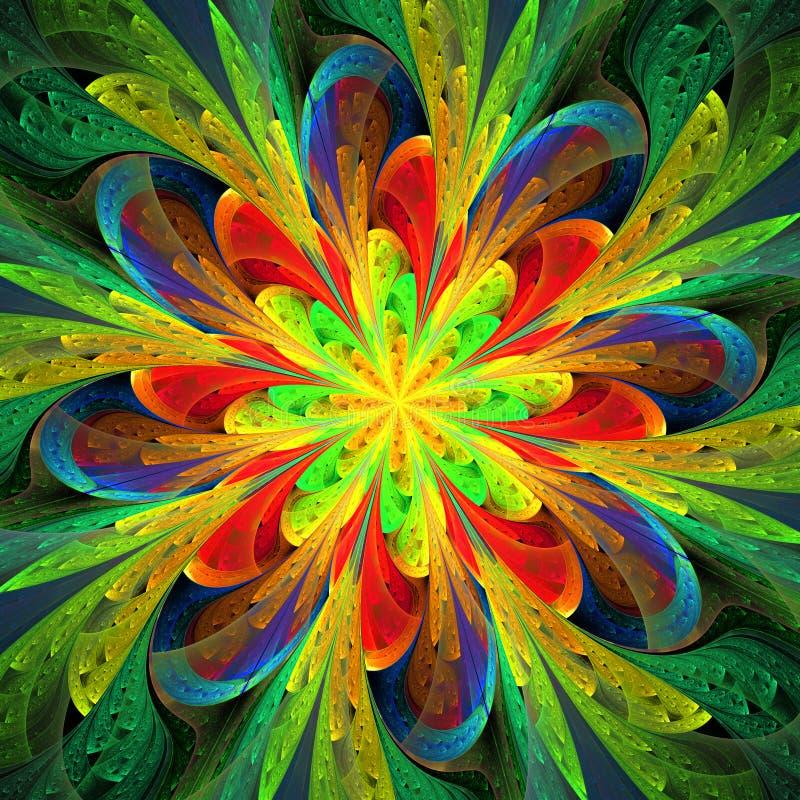 Symmetrisches Muster in der Buntglasfensterart vektor abbildung