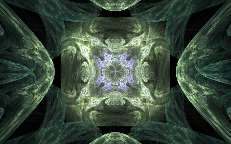 Symmetrisches Muster der Hintergrund-Zusammenfassung in Form einer Blume mit lila Rand in der Mittel- und grünen Verzierung herum vektor abbildung