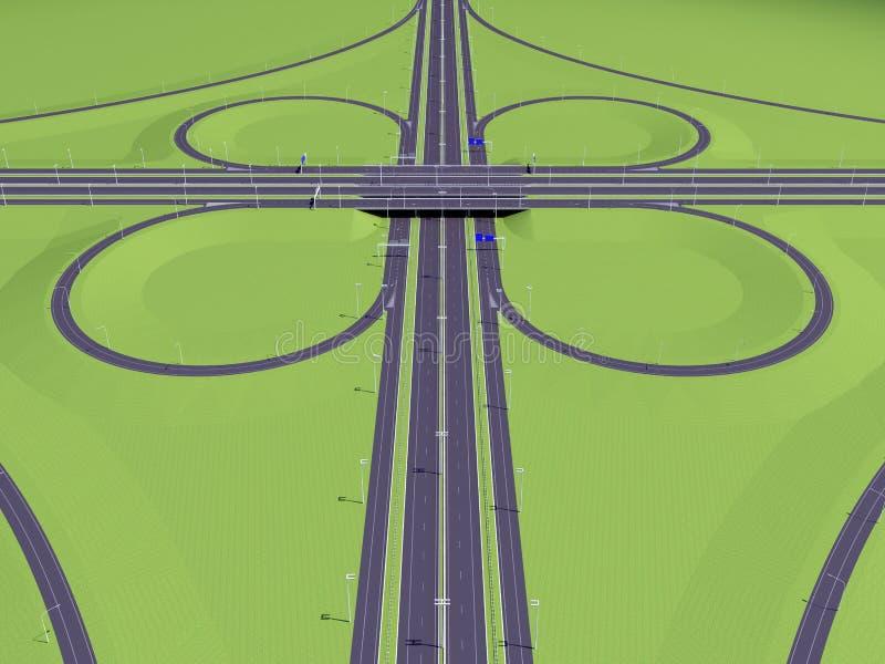Symmetrisk genomskärningshuvudväg stock illustrationer