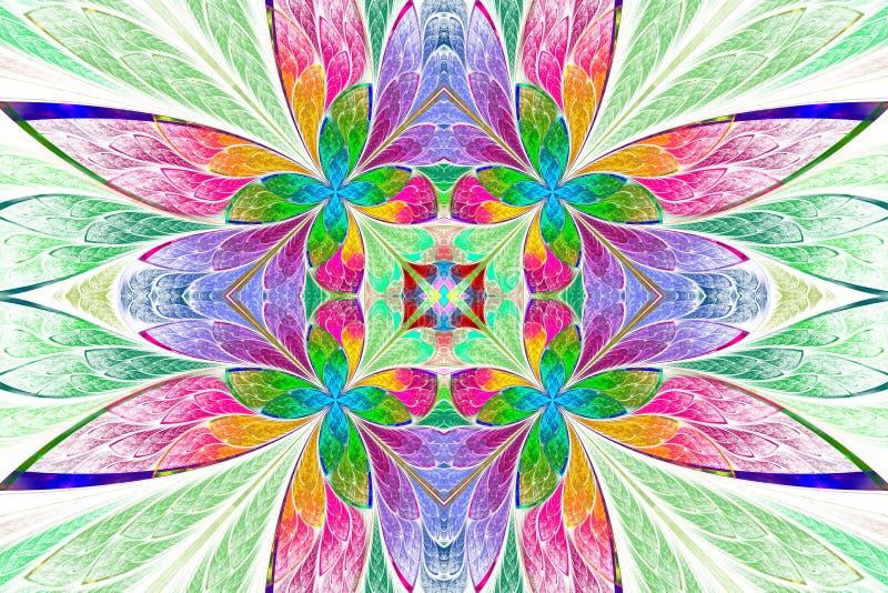 Symmetrisk mångfärgad blommamodell i målat glassfönster stock illustrationer