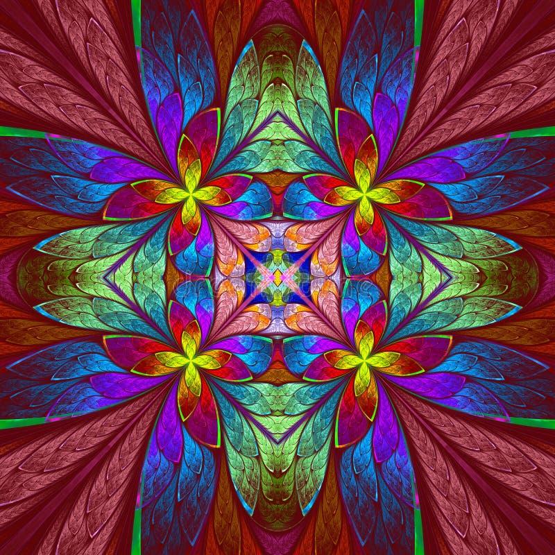Symmetrisk mångfärgad blommamodell i målat glassfönster royaltyfri illustrationer