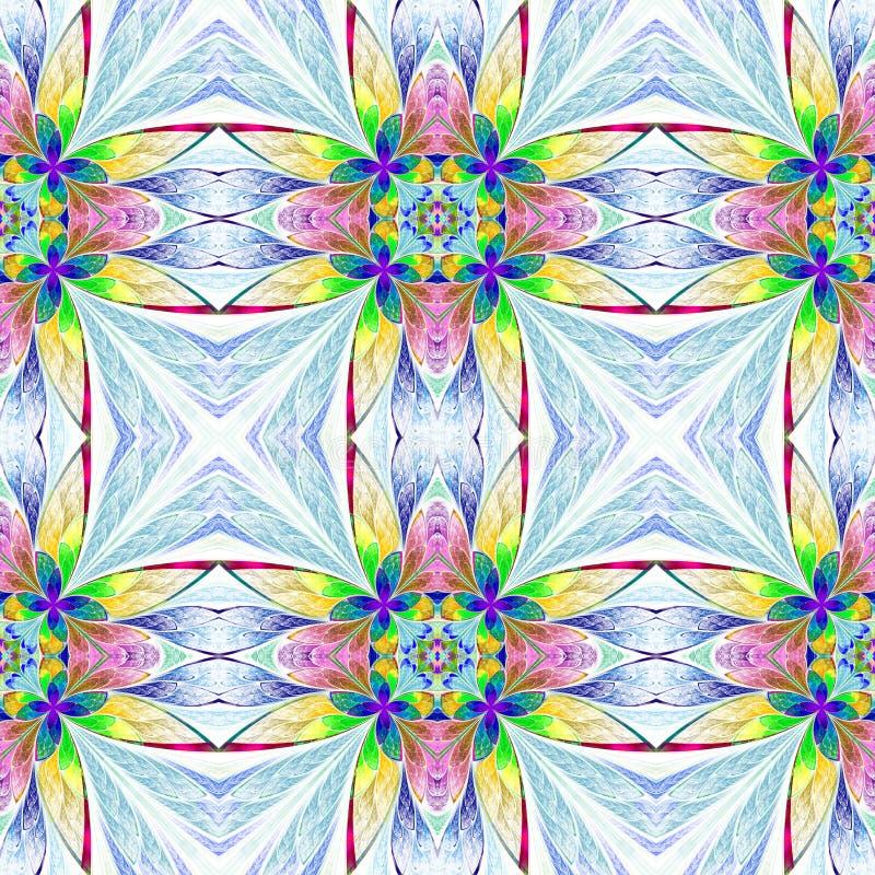 Symmetrisk mångfärgad blommamodell i målat glassfönster vektor illustrationer