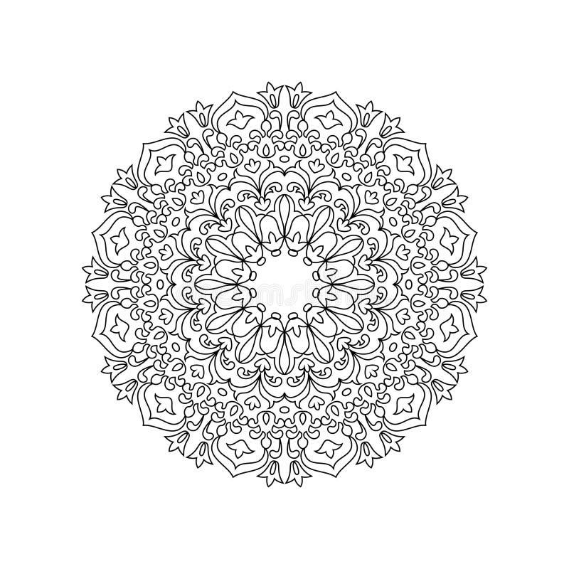 Symmetrisk mandala av färgläggningboken för vuxna människor vektor illustrationer