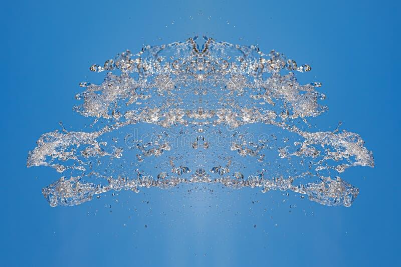 Symmetrisk modell av stoppade vattensmå droppar med genomskinliga strömmar på en blå bakgrund Sammandrabbning, opposition och mys arkivbilder