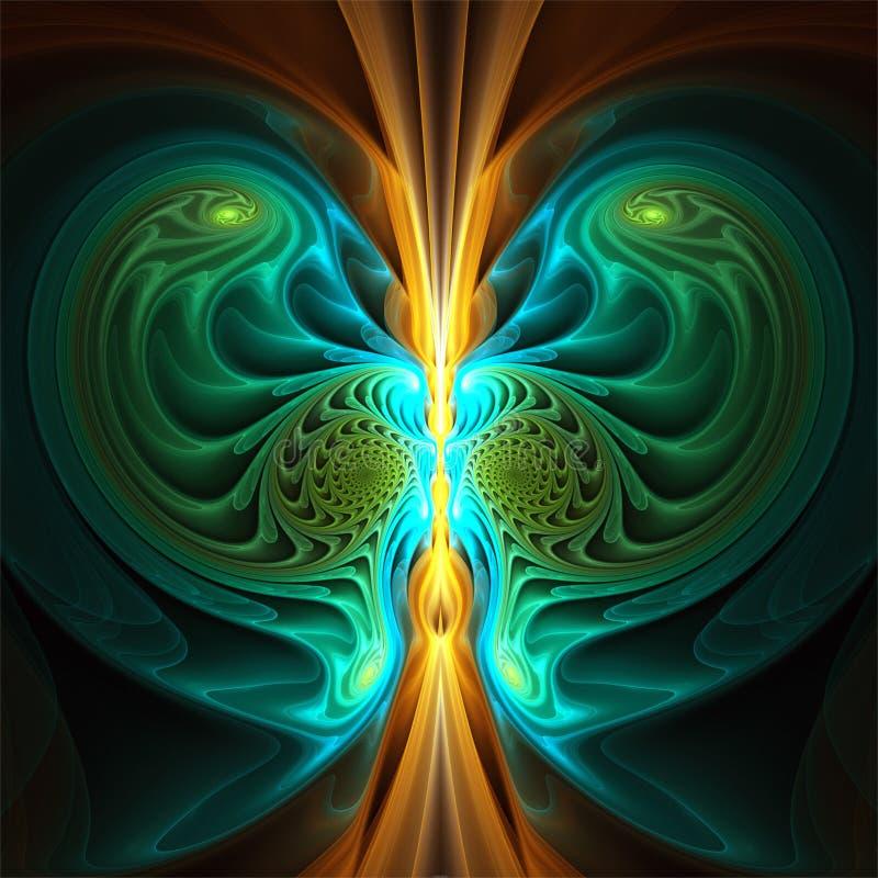 Symmetrisk mystisk gul cyan grön form för abstrakt fractalkonst stock illustrationer
