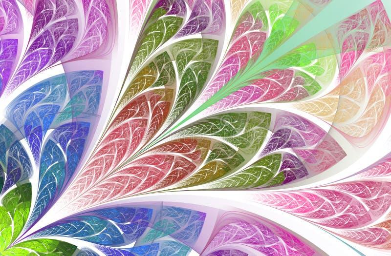 Symmetrisk och magisk blom- fractalmodell H?rlig blomma i flerf?rgad palett vektor illustrationer