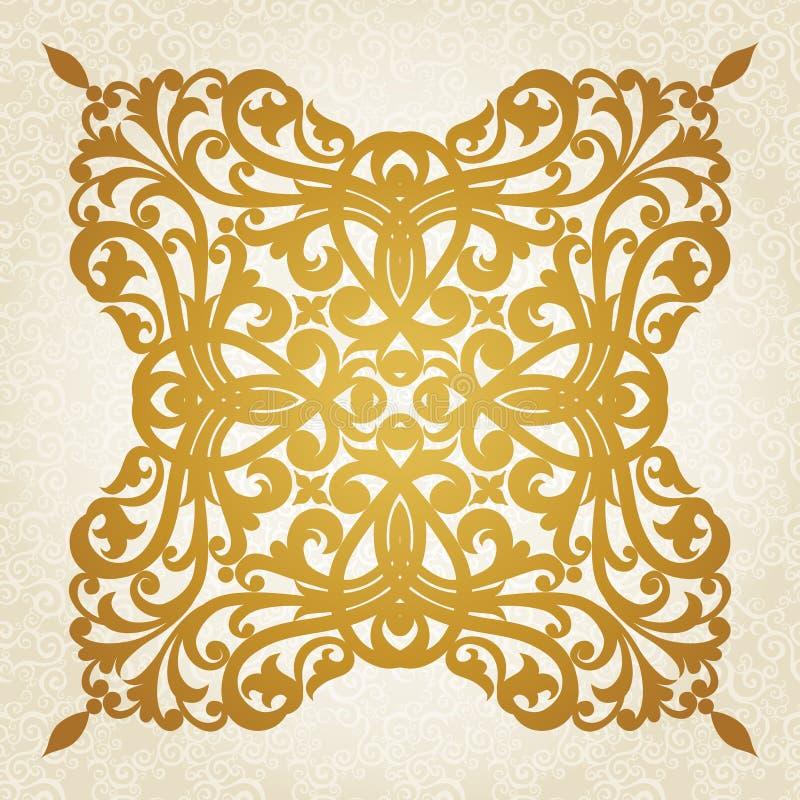 Symmetrisk prydnadmodell i viktoriansk stil på sömlös krullningsbakgrund. royaltyfri illustrationer