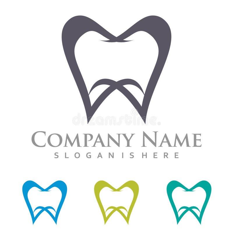 Symmetrisk tand- tandläkare Tooth Expert Logo Template royaltyfri illustrationer