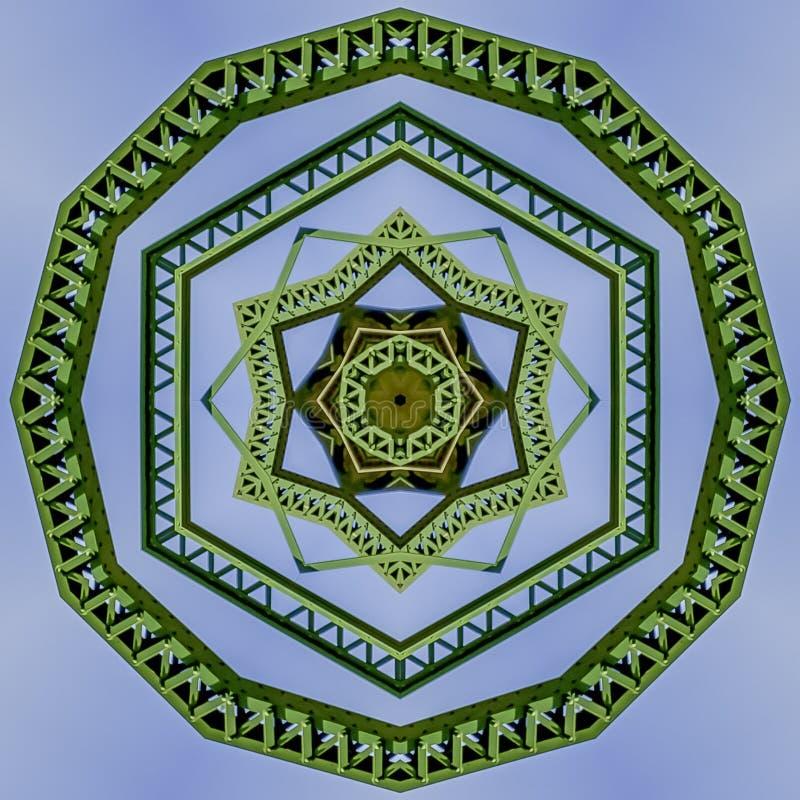 Symmetrisk vinkelformig cirkeldesign för fyrkantig ram som skapas från att dubblera ett foto av en grön bro i Kalifornien arkivfoto