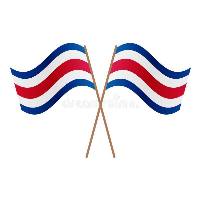 Symmetriska korsade Costa Rica flaggor stock illustrationer