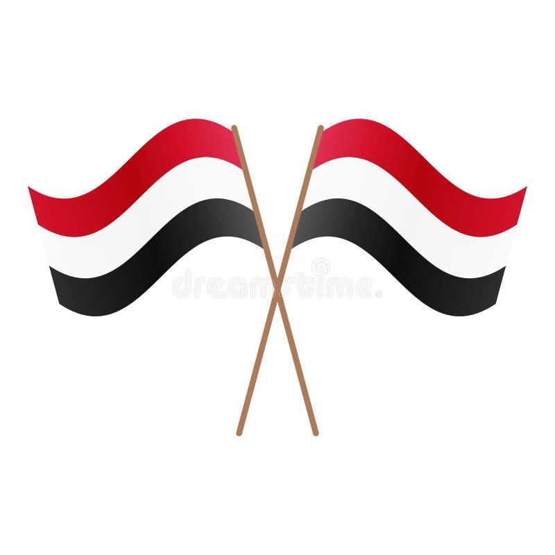 Symmetriska korsade Egypten flaggor royaltyfri illustrationer